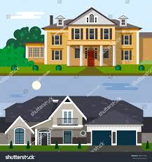 home and yard design luxury house exterior vector illustration flat stock vector