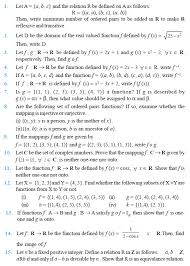 class 12 important questions for maths relations and functions