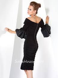 designer tight off shoulder short black jersey evening dress with