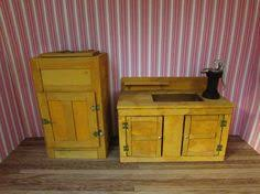 Dollhouse Kitchen Sink by Vintage Wood Dollhouse Hutch Miniature China Cabinet Scale
