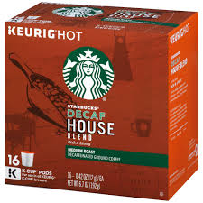 starbucks decaf house blend medium ground coffee k cup pods 16