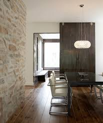 Beveled Floor Mirror by Interior Stone Walls With Window Bench Seating Dining Room
