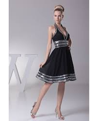 halter neck sweetheart short black formal dress with white sequins