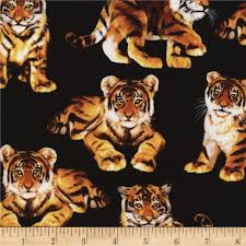 timeless treasures tiger cubs black discount designer fabric