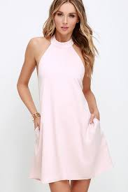 pink dresses chic light pink dress halter dress trapeze dress 58 00