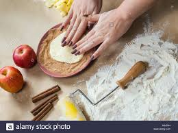 preparation cookies with cinnamon cottage cheese and apples on