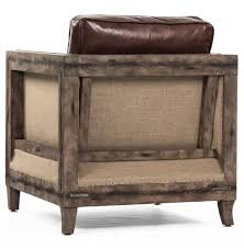 Leather Club Chair Beck Industrial Rustic Lodge Masculine Square Frame Brown Leather