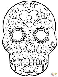 dead sugar skull coloring free printable