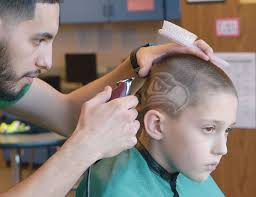 seattle barbers that do seahawk haircuts edison elementary school boys show team pride with seahawks