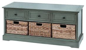 wooden cabinet with 3 wicker basket drawers 42