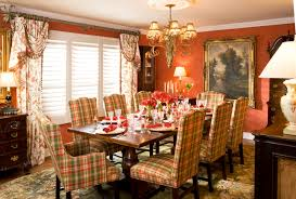 pretty dining room window treatments ideas with cute red pattern