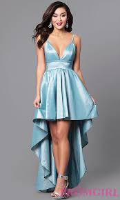 cheap v neck high low mint blue prom dress promgirl