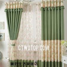 Curtains With Green Green Style Cheap Floral Curtains With Lace Top Design