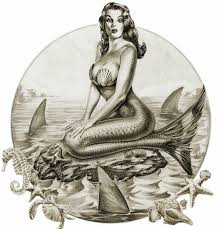 black and white pin up mermaid sitting on rock design