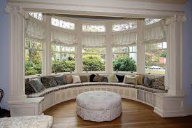decorating ideas awesome bay window seat with round fabric awesome bay window seat with round fabric ottoman and upholstered bench include cushions also beige polyster curtains