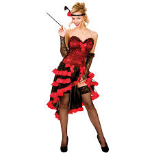 ladies red wild west showgirl fancy dress up party halloween