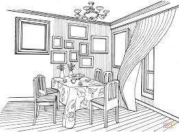 cabinet in classic interior design coloring page free printable