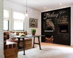 comfortable oak wooden l shaped bench and large chalkboard ideas