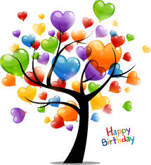 Birthday Cards Colored Heart Tree Happy Birthday Card Vector Free Vector In