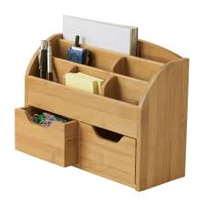 Desk Organizer Lipper International Bamboo 9 62 In X 12 62 In Space Saving Desk