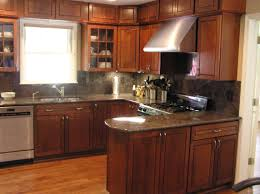 Kitchen Colors With Brown Cabinets Kitchen Cabinets Stone Backsplash Ideas With Dark Cabinets Small
