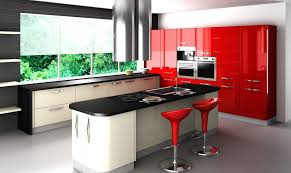 Glossy Kitchen Cabinets Elegant Kitchen Design Calm Wall Color Wooden Furnitures Kitchen