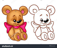 bear funny bow coloring page cartoon stock illustration 602210045
