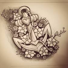 heart and flowers tattoo added some flowers to this anchor drawing on we heart it