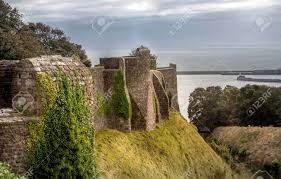 dover castle walls of the medieval dover castle near the seaside stock photo
