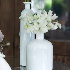 White Glass Vase Vintage Decorative White Glass Bottle Vases In Assorted Sizes Set Of 3