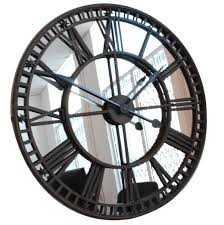 extra large black wall clock with mirror design idea decofurnish