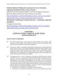 solutions manual auditing and assurance services a systematic