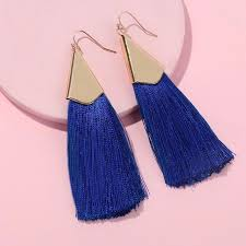 royal blue earrings atelier sona jewelry geometric fringe fan tassel earrings royal