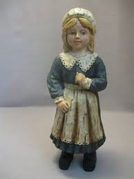 thanksgiving pilgrim statues figurine statue wood colonial pilgrim girl blue white clothes