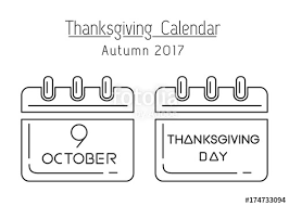 thanksgiving calendar line icon set canadian thanksgiving 2017