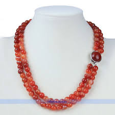 gemstone beads necklace images Genuine gemstone 20 quot double strand 8mm red agate bead necklace jpg
