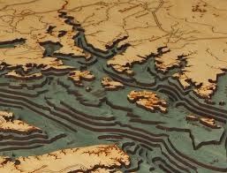 Map Of Outer Banks Custom Wood Charts Of Chesapeake Bay From Carved Lake Art