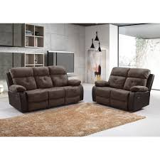 antrim brown faux suede fabric recliner collection with leather