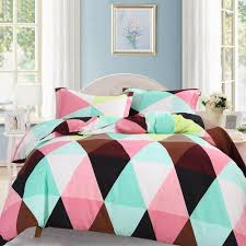 3 pieces duvet cover set microfiber king size triangle printed