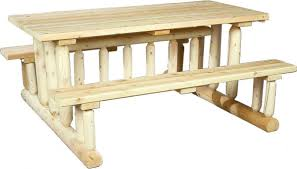 cedarlooks log park style cedar wood picnic table bench