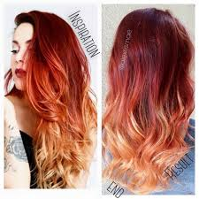luanna90 inspired red fire balayage ombre hair using olaplex