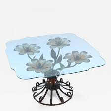 Glass Top Table 1930s Side Table With Metal Flower Base And Glass Top