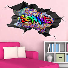 multi full colour personalised 3d graffiti name cracked wall art multi full colour personalised 3d graffiti name cracked wall art stickers decal mural amazon co uk kitchen home