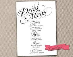 wedding drink menu template wedding bar menu template menu and resume