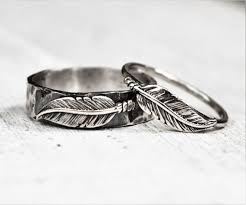 wedding sets his and hers sterling silver boho feather rings pair set his and hers