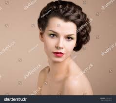 braided pinup hairstyles femininity nostalgia retro styled pinup girl stock photo 137019131