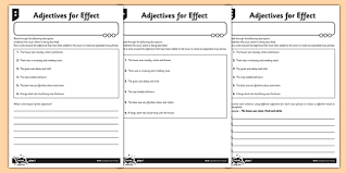 adjectives for effect differentiated activity sheet pack gps