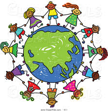 pal clipart of a childs sketch of children holding hands around a