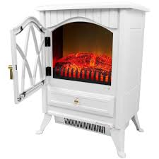 pure white retro style floor electric fireplace freestanding