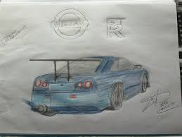 my drawing of a nissan skyline r34
